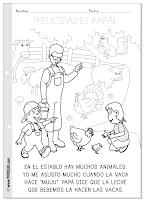 Día del padre - Ficha para colorear y leer - Animales