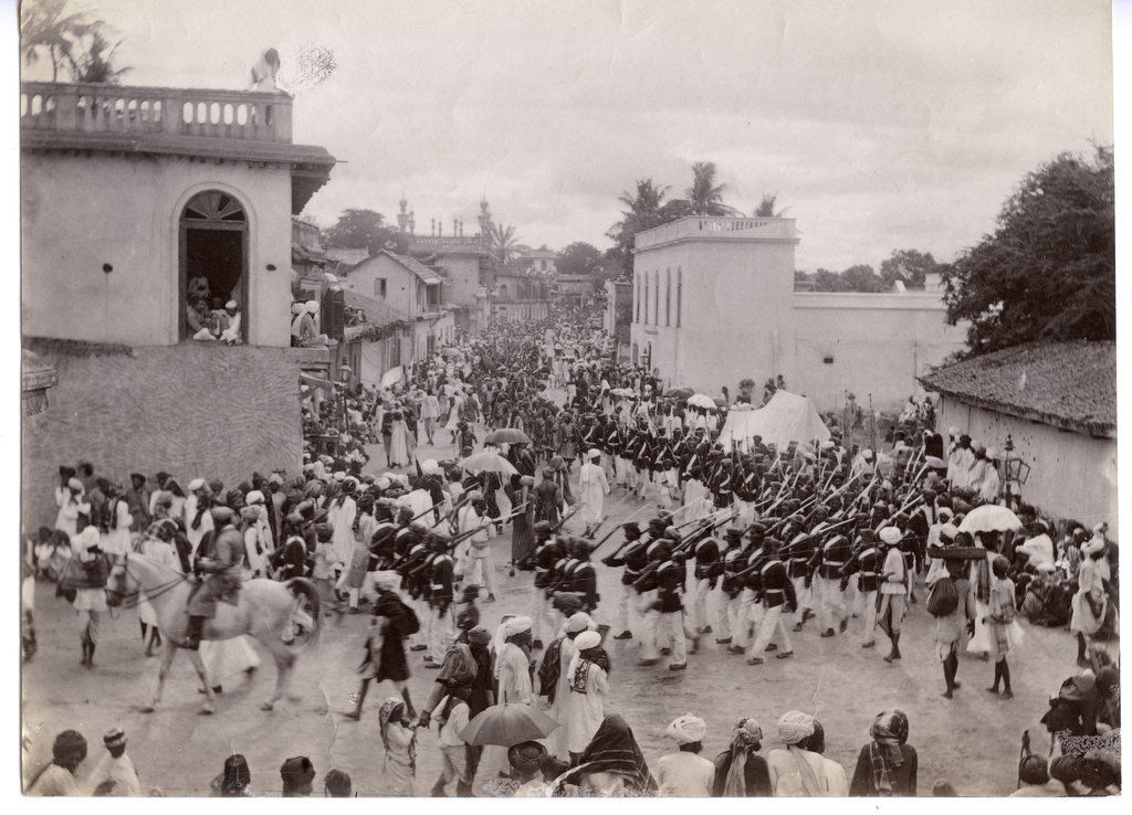 Indian Military Parade through a Town - c1890's