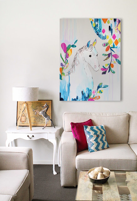 colourful original paintings watercolour deer elephant horse animals illustration bright pink green blue turquoise grey sail and swan adelaide perth melbourne