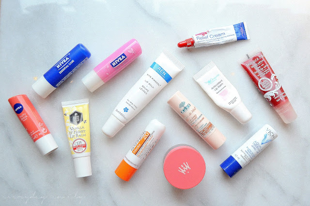 A selection of lip balms for dry lips