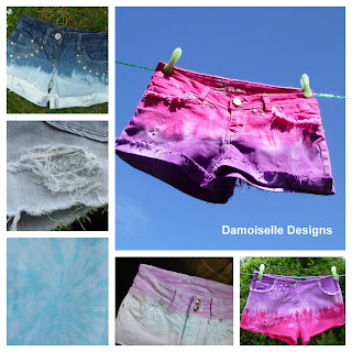 Dip dyed, bleached and re-worked denim shorts
