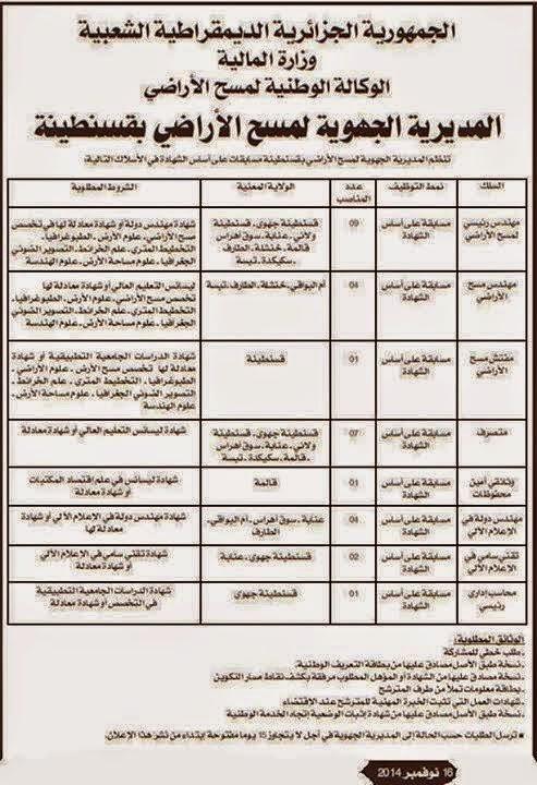 إعلان توظيف بالمديرية الجهوية لمسح الأراضي بقسنطينة