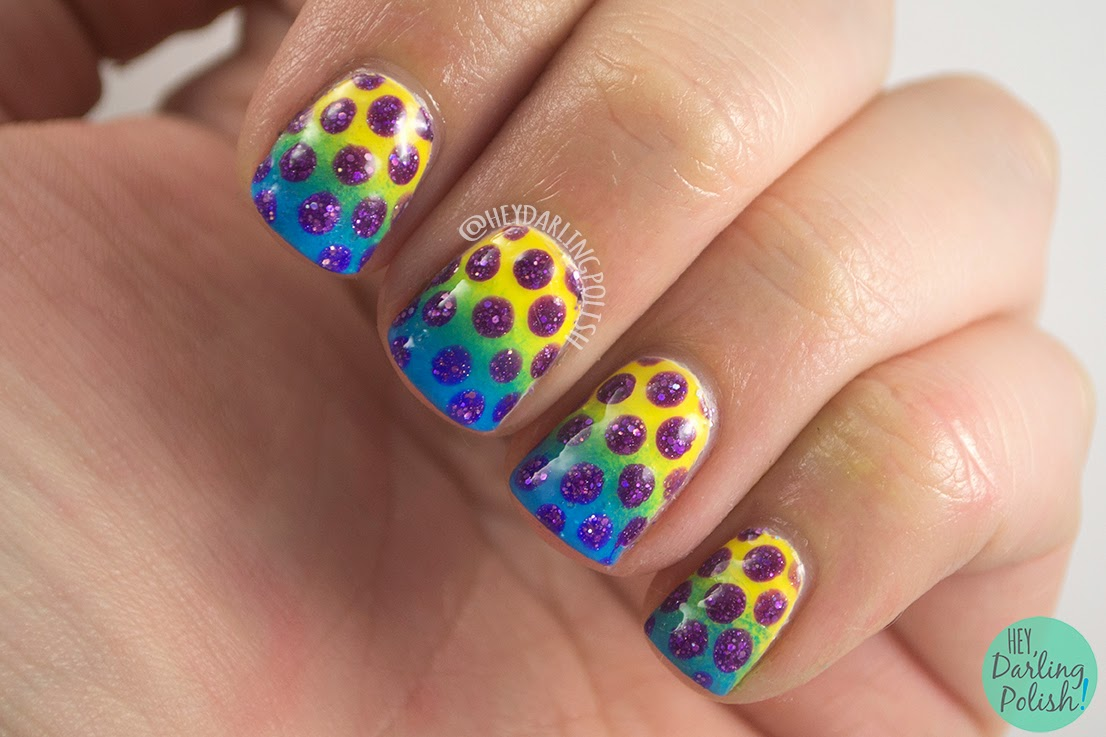 nails, nail art, nail polish, gradient, polka dots, purple, yellow, blue, hey darling polish, recreate, the nail challenge collaborative
