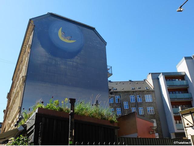 Brunch Restaurant Granola, Copenhague Frederiksberg street art pierrot et la lune dream moon
