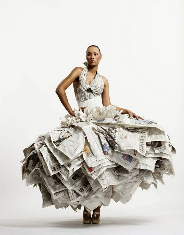 creative ideas; newspaper beautiful dress