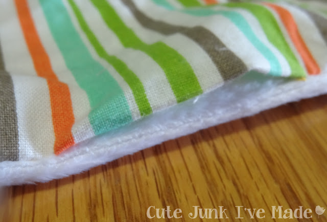 One-Hour Burp Cloths - Right side out gap, edges folded under