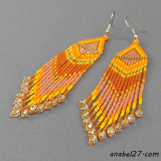 оранжевые серьги из бисера - украшения от Anabel