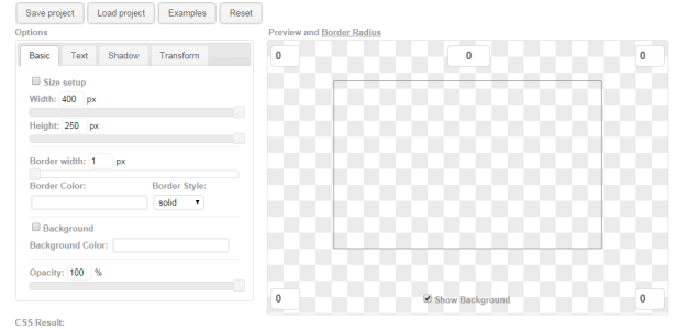 In-web CSS3 div builder