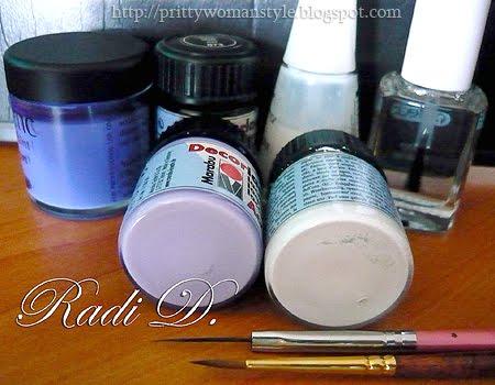 акрилна боя, топ лак, основа, четки