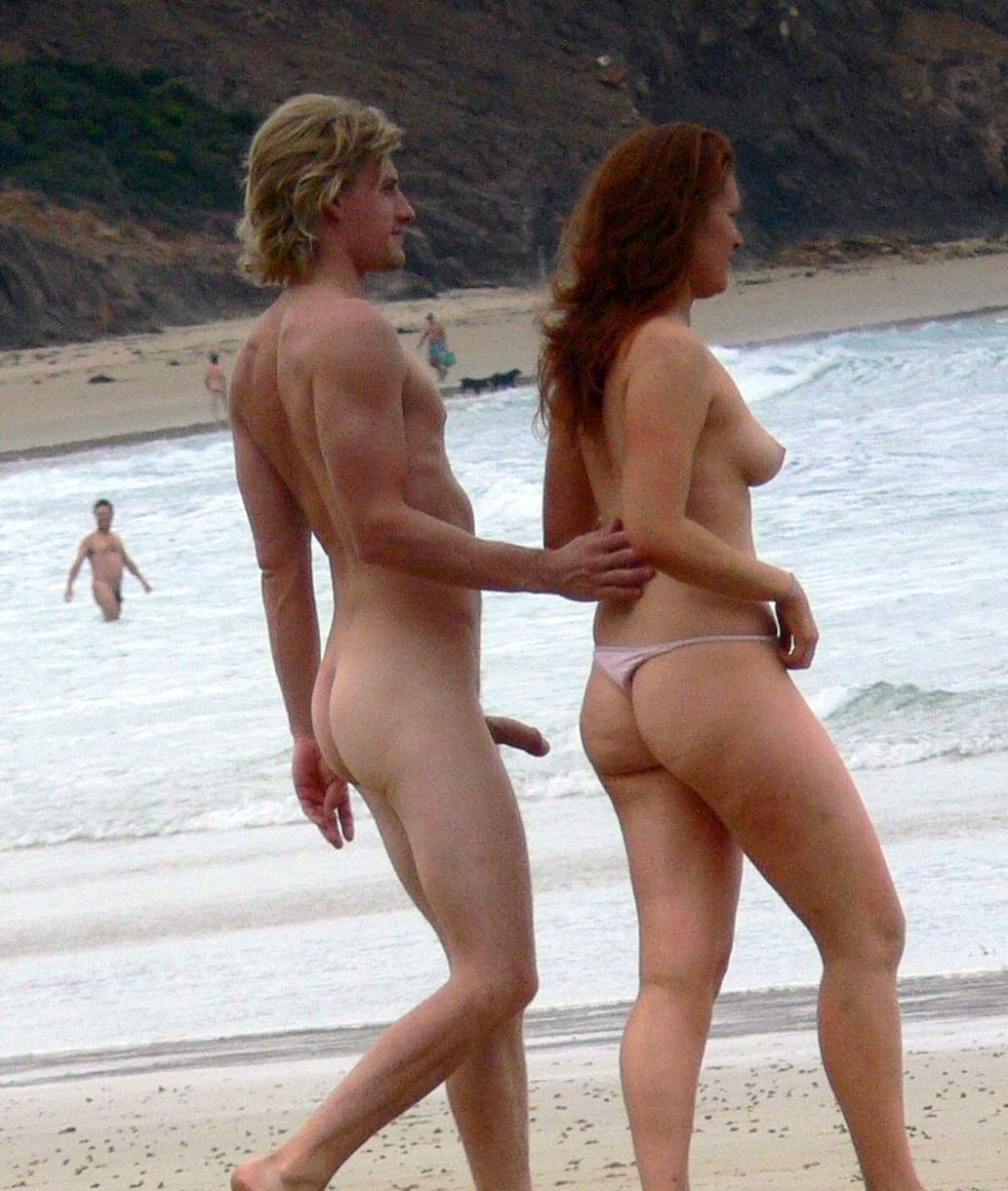Beach perfect nude couple