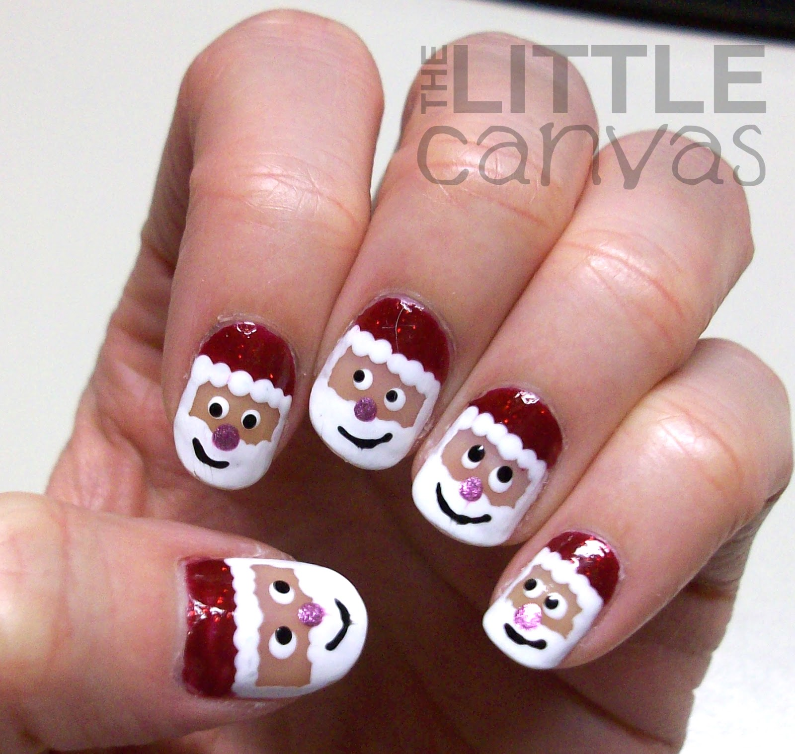 Santa claus nail art the little canvas ill let you be the judge please excuse my last photo with its random colors its orangier than i would have liked but it showed the thumb art the best prinsesfo Choice Image
