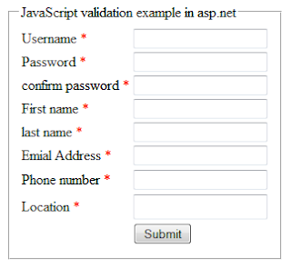 Javascript validation example in asp.net