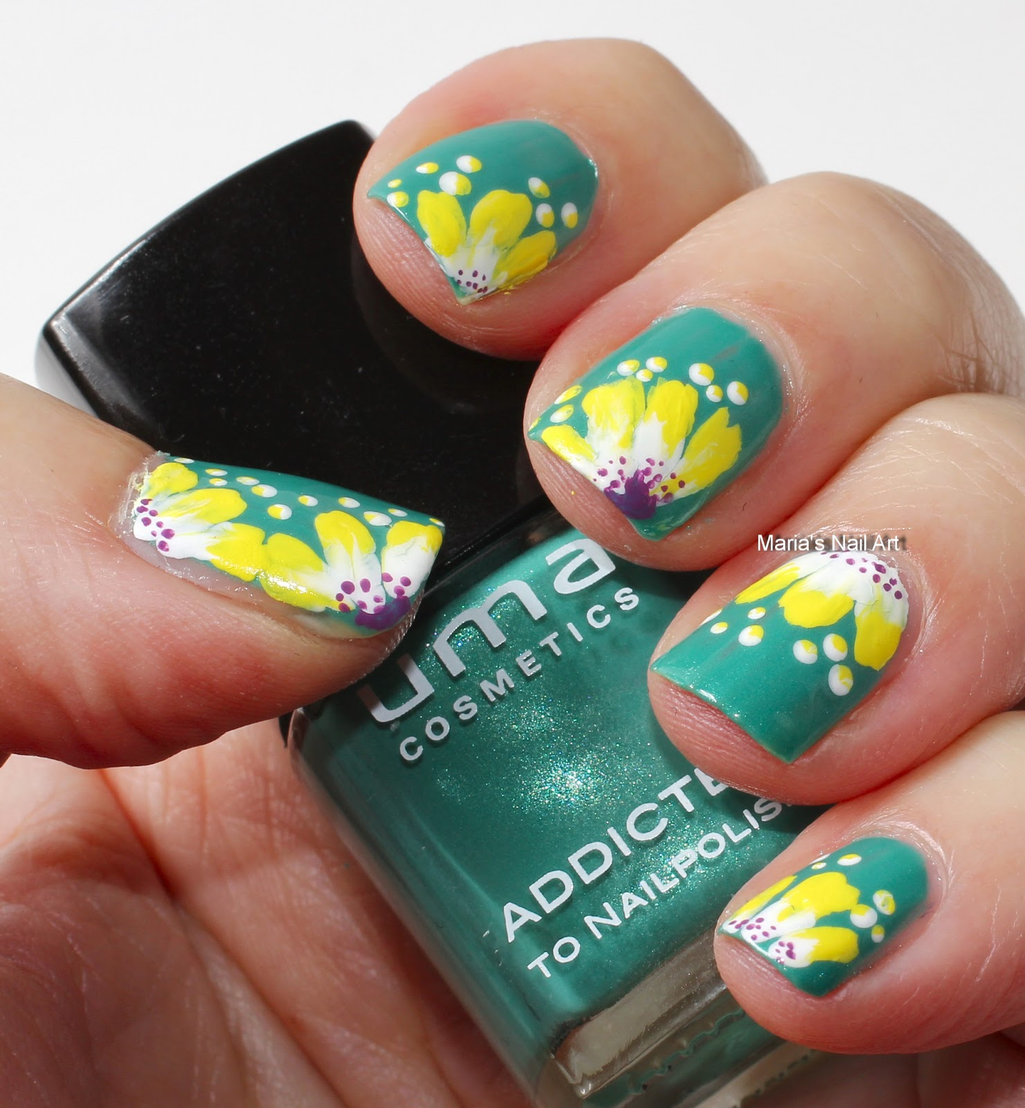 Marias Nail Art And Polish Blog Subtle Floral Nail Art On: Marias Nail Art And Polish Blog: Peek-a-boo One-stokes On Jade
