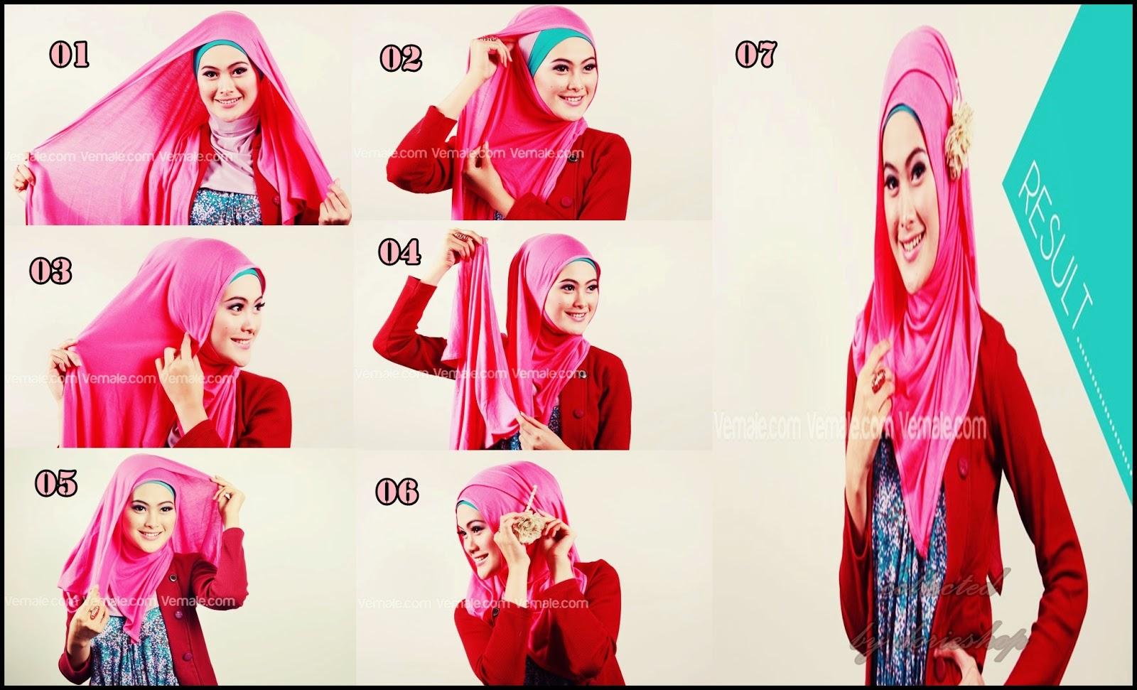 Cara memakai model jilbab pasmina bahan kaos Modern terbaru terbaik