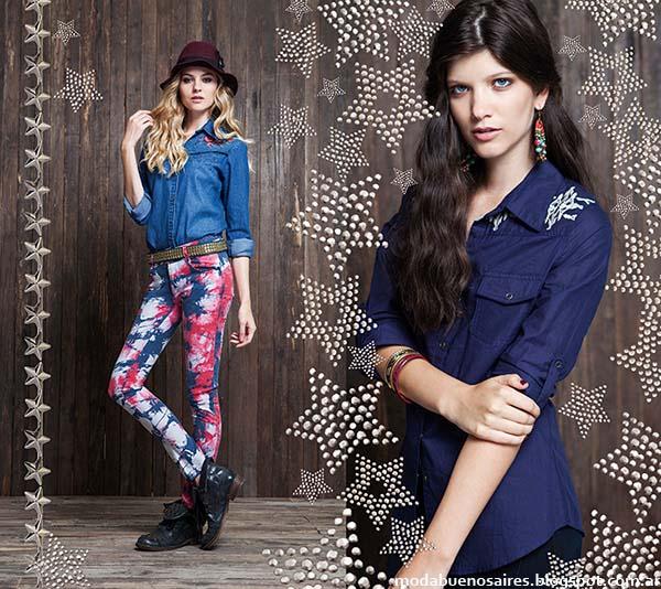Moda otoño invierno 2014 camisas de jeans de mujer.