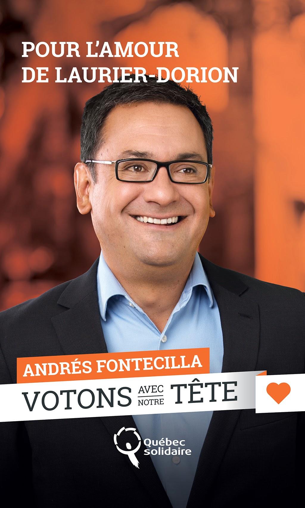 Andrés Fontecilla, Laurier Dorion,Co-porte-parole de Québec Solidaire, QS, 2014, campagne électorale, provinciale