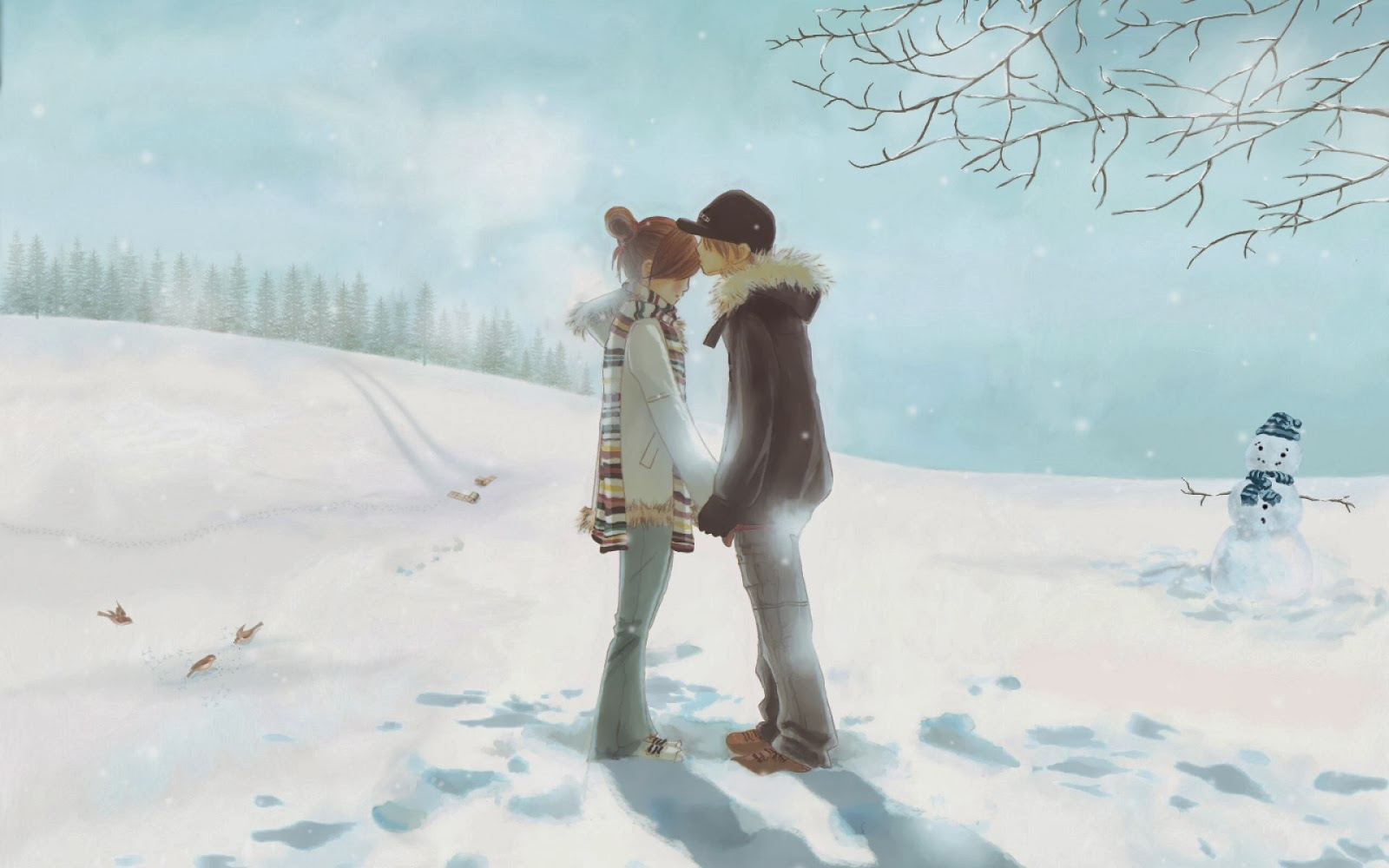 Kiss And Hugs of Lovers Winter-lover-boy-kiss-girl