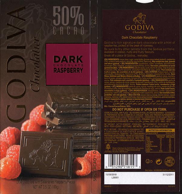 tablette de chocolat noir gourmand godiva noir framboise
