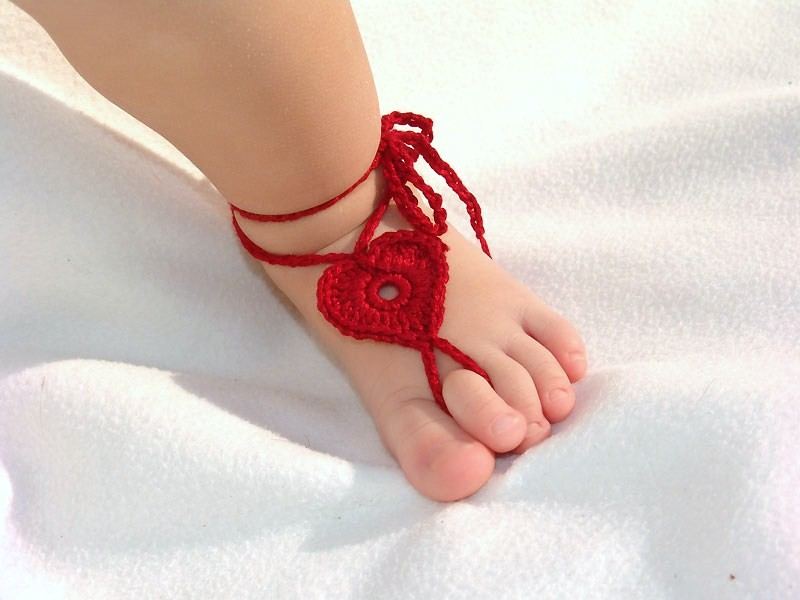 Accessory gallery baby heart barefoot sandals pink red
