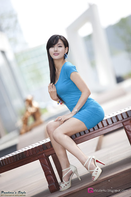 2 Cha Sun Hwa in Blue Mini Dress-Very cute asian girl - girlcute4u.blogspot.com