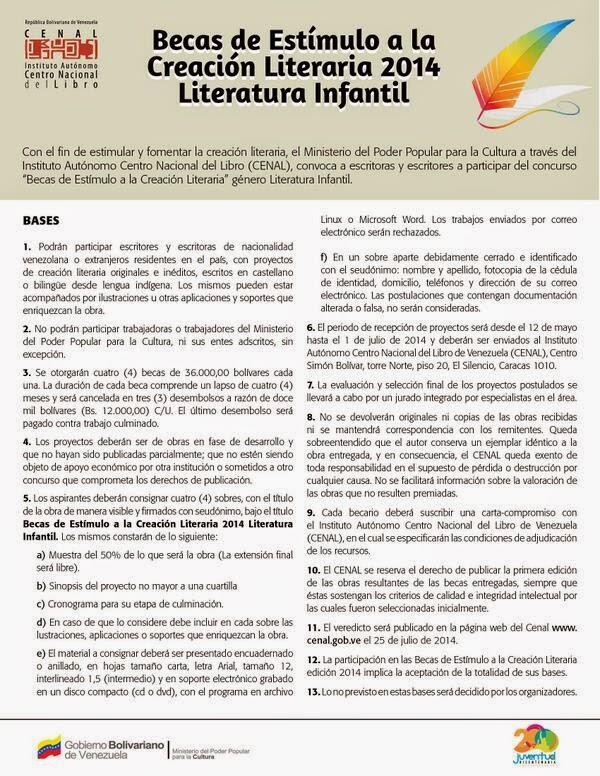 Becas de Estimulo a la Creacion Literaria 2014 Literatura Infantil