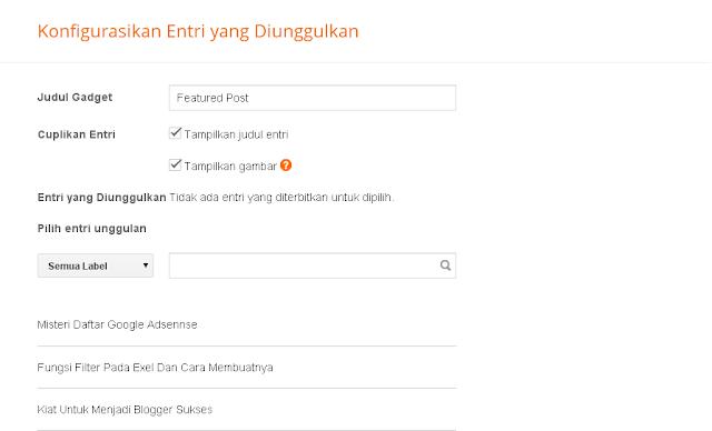 Featured Post Widget Baru Dari Blogger
