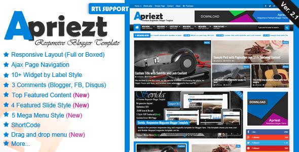 Apriezt v2.1 - Responsive Magazine News Blogger/Blogspot Template