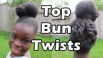 Top Bun with Twists: Preteen and Teen Natural Hair Hairstyle