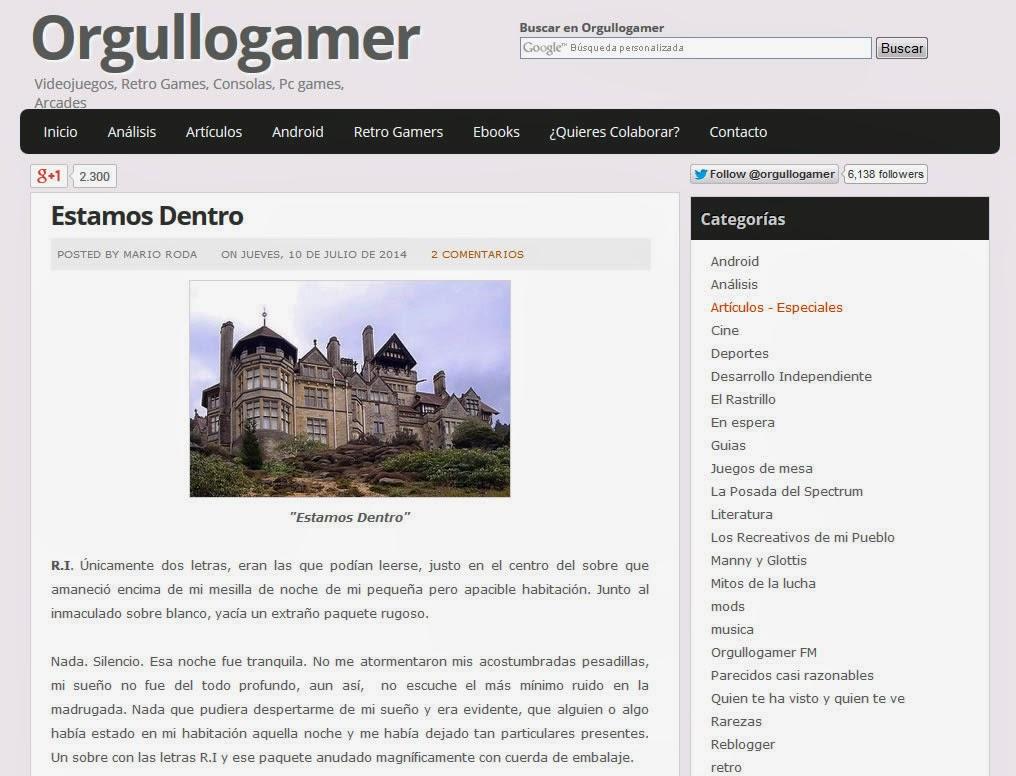 Bienvenido a Orgullo Gamer y su tremenda autopresentación!