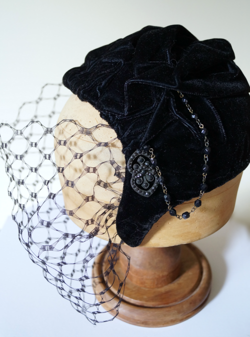 Black velvet fifties hat with veil