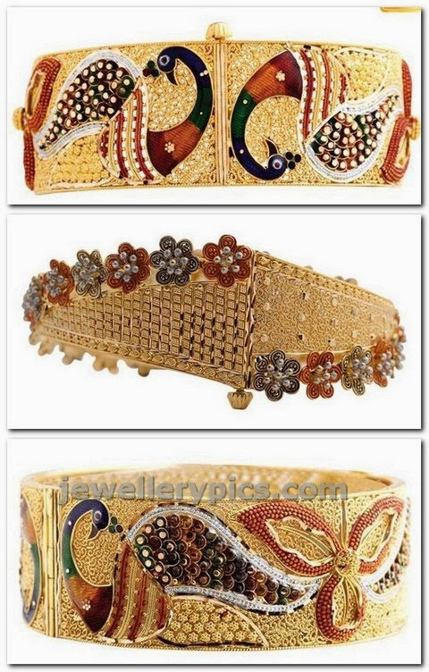 indian gold broad bangle designs from shree gold
