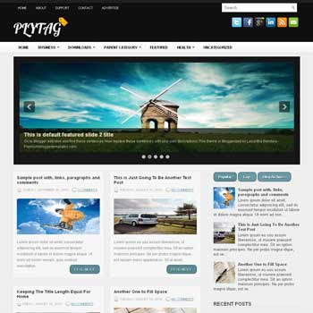 Plytag blog template. download 3 column blogger template style. magazine template blogspot