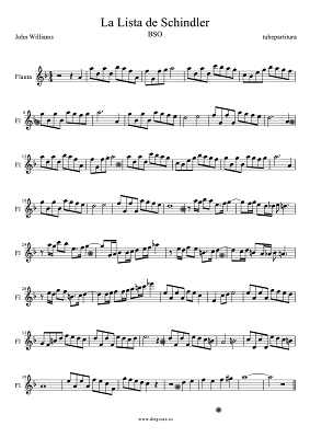 Tubepartitura Partitura de La Lista de Schindler de John Williams para Flauta, canción de la Banda Sonora de la película de La Lista de Schindler