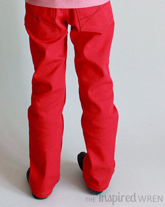 Fabulous girl's red skinny jeans with mock front pockets! | Small Fry Skinny Jeans sewn by The Inspired Wren
