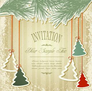 クリスマス・ツリーの型抜きで飾った招待状 Christmas greeting cards イラスト素材
