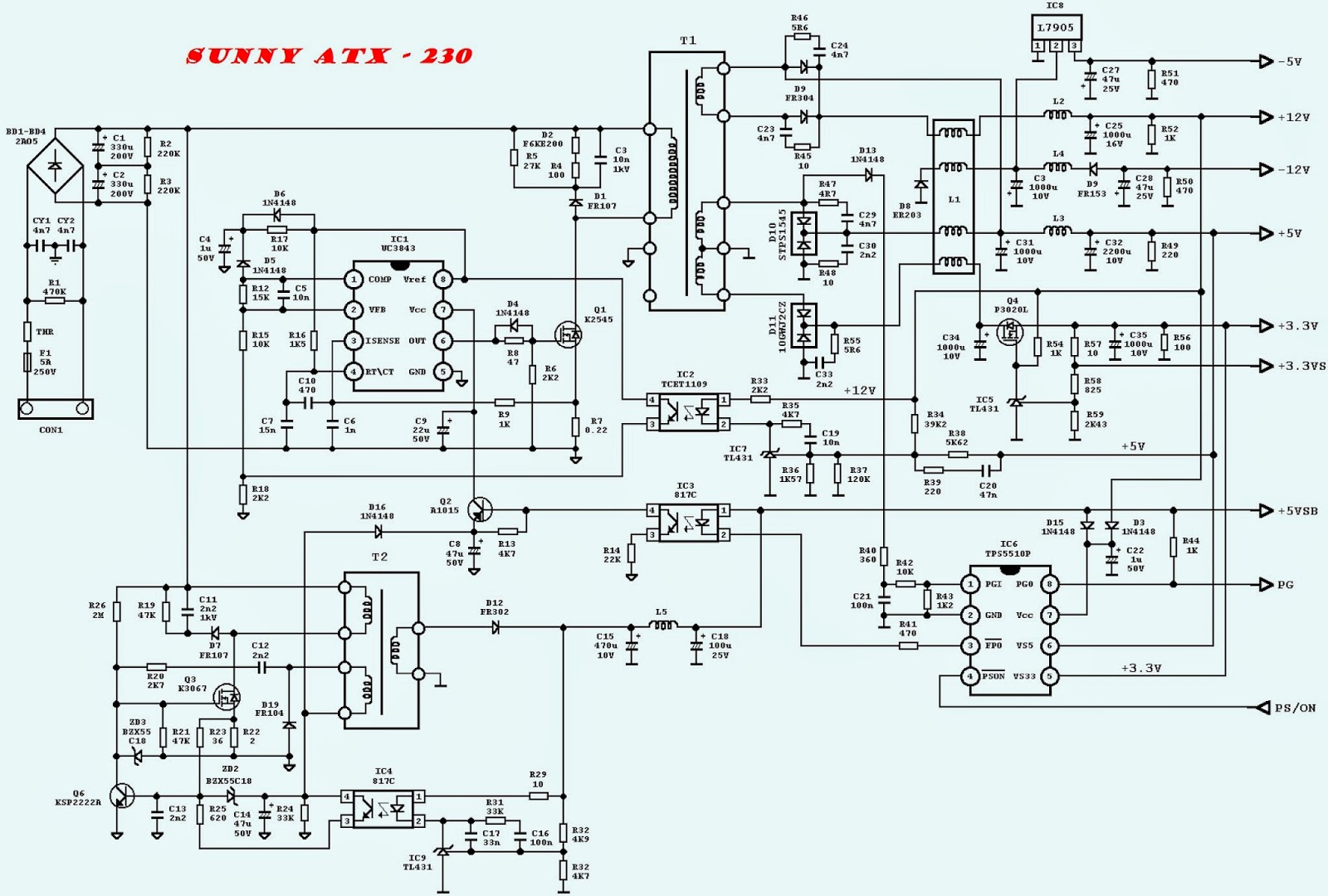 DESKTOP ATX POWER SUPPLY SCHEMATICS - UTIEK ATX600T - Corsair Full ...