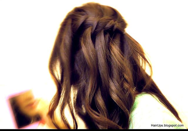How to Half-up, Half down Waterfall Braid, French Fishtail Braid updos, easy hairstyles, wedding, everyday look on long hair with curls