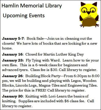 1-23 Hamlin Library Events