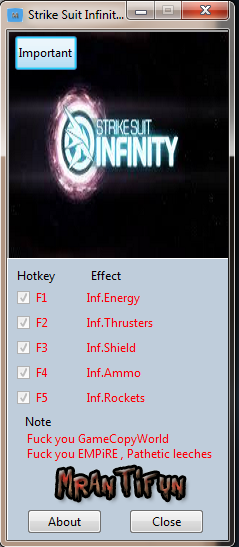 Strike Suit Infinity  V1.00 Trainer +5 MrAntiFun