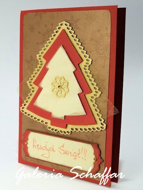 ręcznie robiona zdobna świąteczna kartka wykrojnik choinki marianne designręcznie robiona zdobna świąteczna kartka