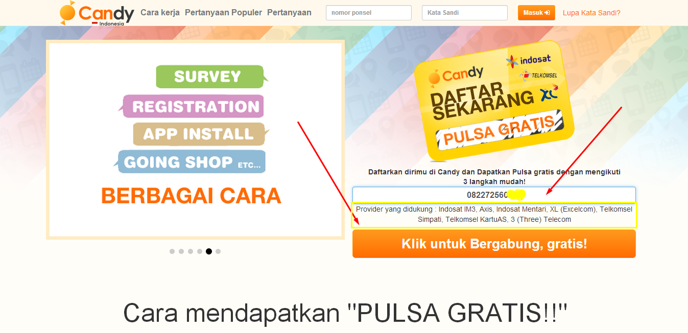 Cara terbaru Mendapatkan Pulsa Gratis dari Candy Indonesia