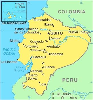 mapa turístico del ecuador