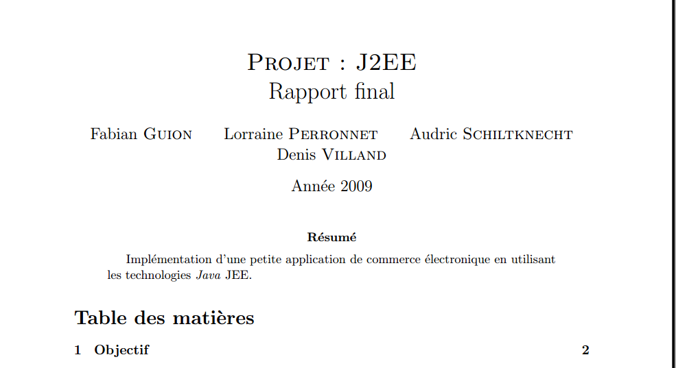 rapport pfe j2ee   impl ementation d u0026 39 une petite