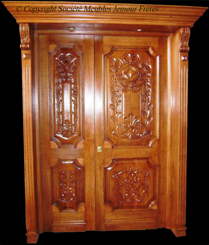 Porte d 39 entr e pour maison en bois noble sculpt avec for Porte exterieur bois tunisie