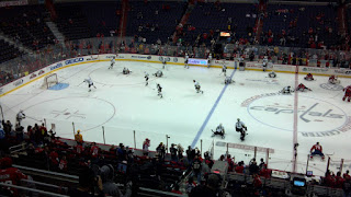 Capitals and penguins warm up for hockey at the verizon center