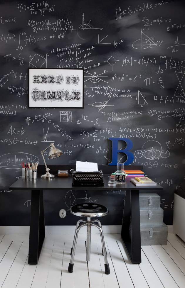 home office chalkboard wall murals ideas