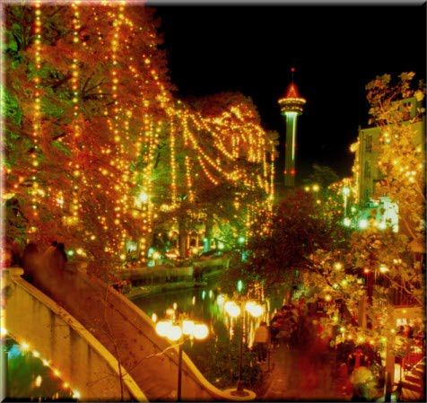 The Riverwalks all Lit Up for the Holidays