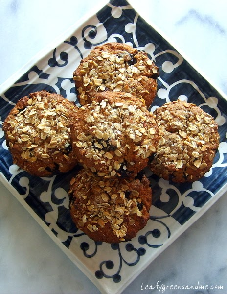 Blueberry Almond-Oat Muffins | Leafy Greens and Me
