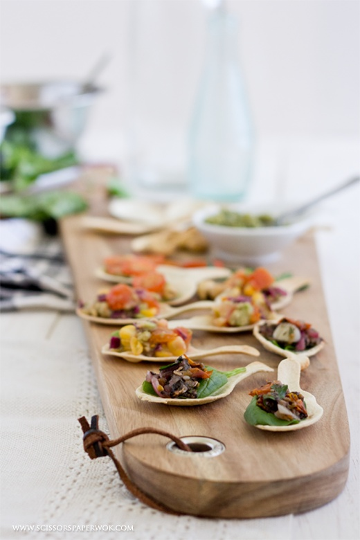 Spot the penguin mini menu for Edible canape spoons