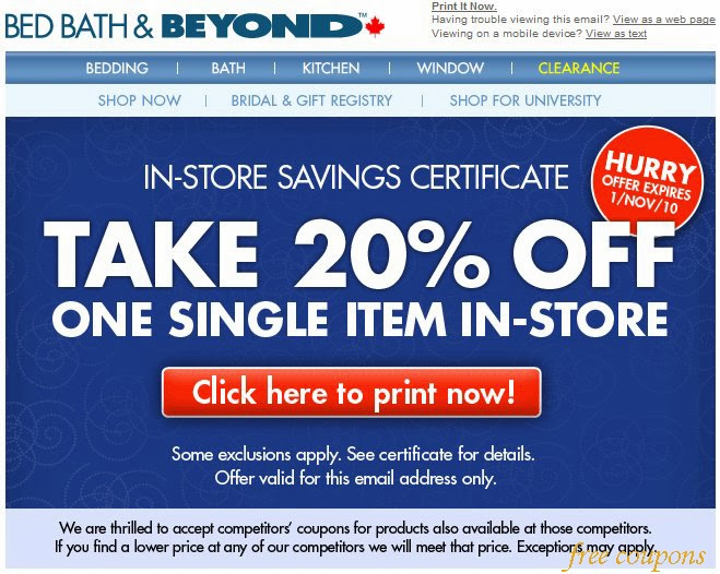 Bed bath and beyond paper coupon code